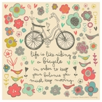 Joy in the Journey Bicycle Absorbent Beverage Coasters, Set of 12