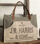 JR Harris & Sons Dorset Vermont Canvas and Leather Tote Bag
