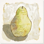 Juicy Pear with Writing Wrapped Canvas Giclee Print Wall Art
