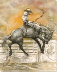 Jumping the Moon Cowboy Riding Wrapped Canvas Giclee Print