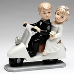 Just Married Bride and Groom Porcelain Wedding Figurine Sculpture