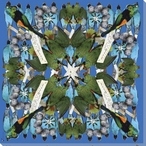 Kaleidoscope Blue Assorted Birds Wrapped Canvas Giclee Print Wall Art