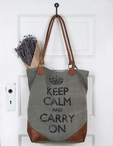 Keep Calm and Carry On Stonewashed Canvas and Soft Leather Tote Bag