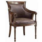 Kensington Leather and Birch Wood Chair with Nail Head Trim