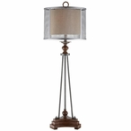 Kenwood Metal and Resin Table Lamp with Burlap Mesh Shade