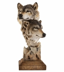 Kindred Wolves Hand Painted Sculpture