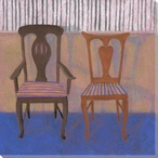 King & Queen of Hearts Two Chairs Wrapped Canvas Giclee Print Wall Art