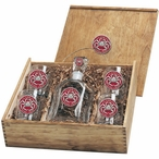 King Crab Red Capitol Decanter & DOF Glasses Box Set w/ Pewter Accents