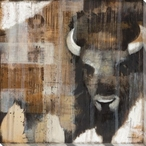 King of the Plains II Bison Wrapped Canvas Giclee Print Wall Art