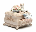 Kittens Playing on a Dresser Musical Music Box Sculpture