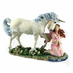 Kneeling Fairy Hugging the Head of a Unicorn Fantasy Sculpture