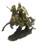 Knight and Horse Charging with Lance and Cinquefoil Shield Sculpture