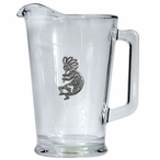 Kokopelli Glass Pitcher with Pewter Accent
