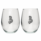 Kokopelli Pewter Accent Stemless Wine Glass Goblets, Set of 2