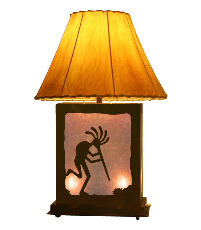 Kokopelli Scenic Metal Table Lamp with Night Light - Kokopelli Scenic Metal Table Lamp With Night Light - Southwestern
