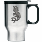 Kokopelli Stainless Steel Travel Mug with Handle and Pewter Accent