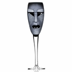 Kubik Black and Clear Crystal Champagne Glass by Mats Jonasson