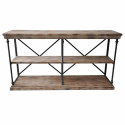 La salle metal and wood console table sofa table furniture for Metal and wood console tables