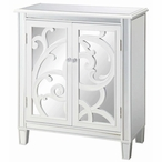 La Salle White Scroll and Mirror 2 Door Wood Cabinet