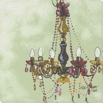 Lady in Green Chandelier Wrapped Canvas Giclee Print Wall Art