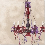 Lady in Red Chandelier Wrapped Canvas Giclee Print Wall Art