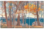 Lakeside Lace Scenic Wrapped Canvas Giclee Wall Art Print, Set of 3