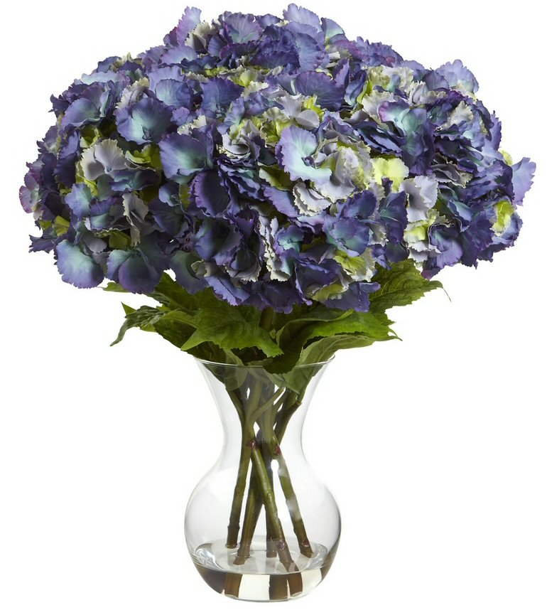 Large Blue Hydrangea With Vase Silk Flower Arrangement Artificial