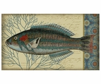 Large Blue Indigo Fish Facing Left Vintage Style Metal Sign