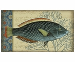 Large Blue Indigo Fish Facing Right Vintage Style Wooden Sign