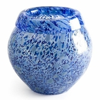 Large Blue Metallica Mouth Blown Crystal Bowl by Mats Jonasson