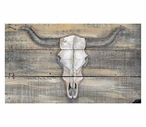 Large Cattlemans Skull Vintage Style Wooden Sign