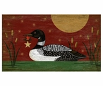 Large Christmas Loon Bird Vintage Style Wooden Sign