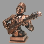 Large Copper Jazz Guitar Player Statue