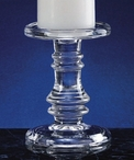 Large Dual Pillar and Taper Glass Candle Holder