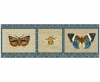 Large English Manor Butterflies & Bee Vintage Style Metal Sign