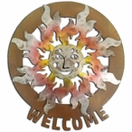 Large Happy Sun Face Sunset Swirl Metal Welcome Sign Medallion
