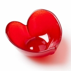 Large Heart Red Color Crystal Bowl by Mats Jonasson