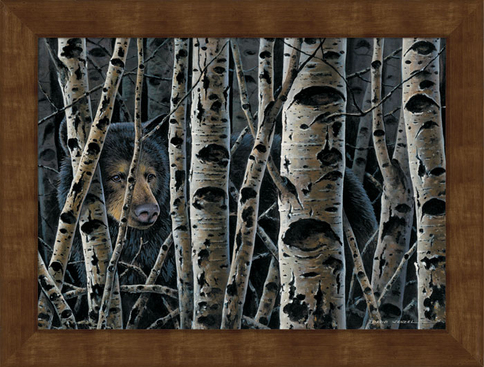 Large Inconspicuous Black Bear Framed Canvas Art Print Wall Art ...