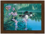 Large Iris Cove Loons Framed Canvas Art Print Wall Art