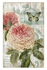 Large Jardin Pink Flowers & Butterfly Vintage Style Metal Sign