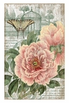 Large Jardin Red Flowers & Butterfly Vintage Style Metal Sign