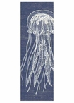 Large Jellyfish with Denim Background Vintage Style Metal Sign