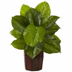 Large Leaf Philodendron Silk Plant with Decorative Planter