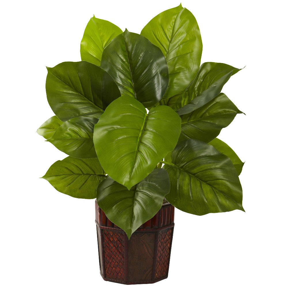 Large leaf philodendron silk plant with decorative planter for Decorative plants for garden