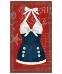 Large Old Fashioned Blue & White Swimsuit Vintage Style Metal Sign