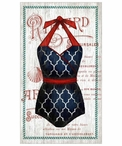 Large Old Fashioned Red White & Blue Swimsuit Vintage Style Metal Sign