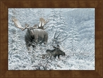 Large Patient Suitor Moose Framed Canvas Art Print Wall Art