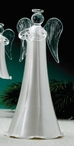 Large Pearl White Angel Glass Christmas Tree Ornaments, Set of 6