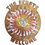 Large Personalized Sprite Sun Face Sunset Swirl Metal Address Sign