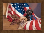 Large Puppies with the American Flag Framed Canvas Art Print Wall Art